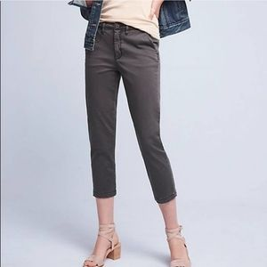 Anthropologie 27 gray slim crop chino pant